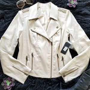 Guess new motorcycle jacket studded champagne M